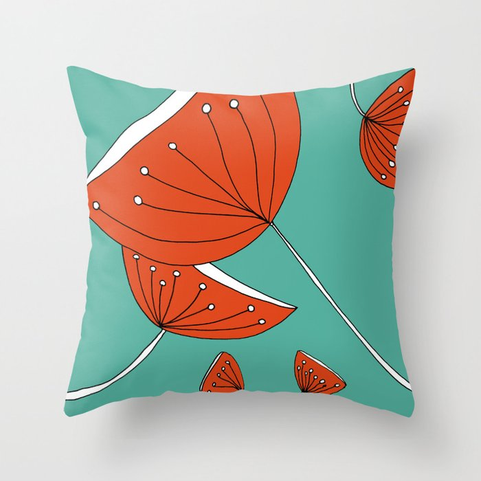 Whimsical Red and Teal Nature Drawing by Emma Freeman Designs Throw Pillow