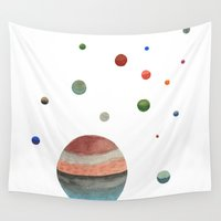 planets Wall Tapestries featuring Planets by Ellen Beall Dubreuil