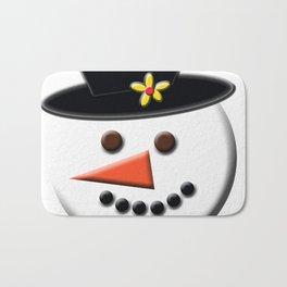 Snowman Head Digital Art Bath Mat