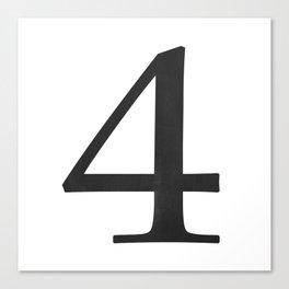 Number 4 (Black) Canvas Print