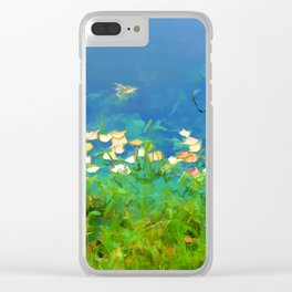 Autumn leaves on water 4 Clear iPhone Case