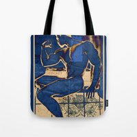 muscle Tote Bags featuring Muscle. by Azure Cricket
