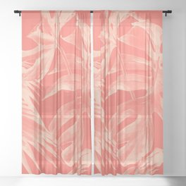 Living Coral Tropical Palm Leaves Monstera Sheer Curtain