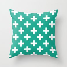 Emerald and White Plus Signs  Throw Pillow