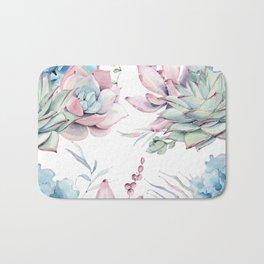 Pretty Pastel Succulents Garden 1 Bath Mat