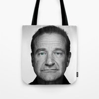 robin williams Tote Bags featuring Robin Williams by Ionic Slasher