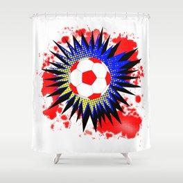 Soccer Ball Comic Boom Shower Curtain