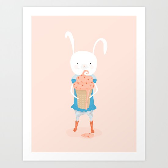 Fiona and Her Carrot Cake Ice Cream Cone Art Print