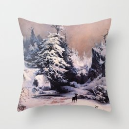 Winter In The Rockies 1867 By Thomas Moran | Reproduction Throw Pillow