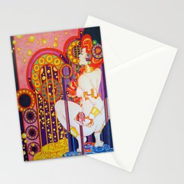 Red Head Klimt Stationery Cards