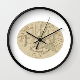 Medieval Baker Kneading Bread Dough Oval Drawing Wall Clock