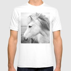 Black and white Horse MEDIUM Mens Fitted Tee White