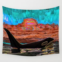 Orca Sunset Wall Tapestry