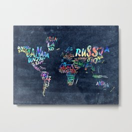 world map typography watercolor 4 Metal Print