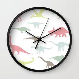 Colorful cute dinosauruses Wall Clock