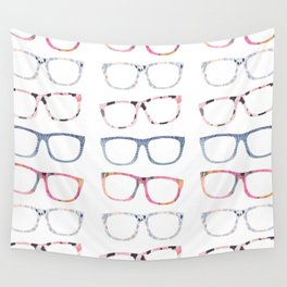 Bespectacled // Watercolor Glasses Print Wall Tapestry