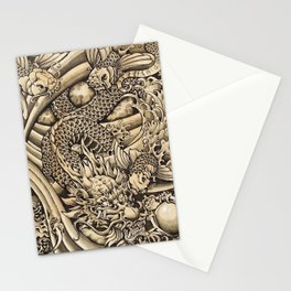 Japanese dragon and Koi fish Stationery Cards