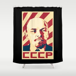 Vladimir Lenin CCCP Retro Propaganda Shower Curtain