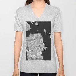 San Francisco Map Gray Unisex V-Neck
