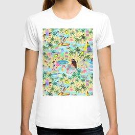 Aloha Hawaiian Tropical mermaid , flamingos, yoga floats floral T-shirt