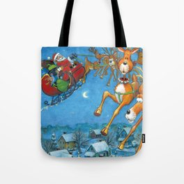 Santa circling over the little town of Bishop Hollow Tote Bag