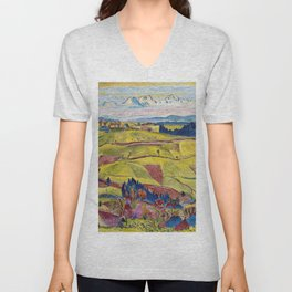 Chamonix Valley and Snow-capped French Alps landscape by Cuno Amiet Unisex V-Neck