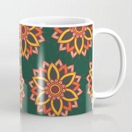 'Autumn Transition' Fall Autumn Flowers On Dark Green Coffee Mug