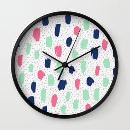 Pink blue brush strokes pattern Wall Clock