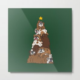Christmas Tree English Bulldog Metal Print