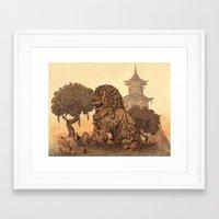 foo fighters Framed Art Prints featuring Foo Dogs  by Terry Fan