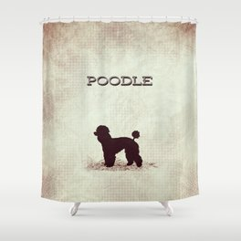 Retro Poodle Distressed Paper Shower Curtain