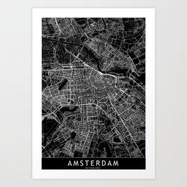 Amsterdam Black Map Art Print