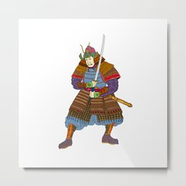 Vintage Samurai Katana Woodblock Print Metal Print