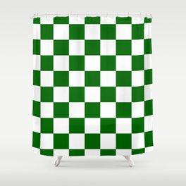 Checkered - White and Dark Green Shower Curtain