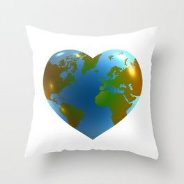 Globe in the shape of heart Throw Pillow