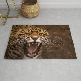jaguar face teeth anger aggression predator Rug