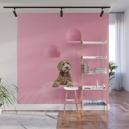 Labradoodle Pastel Color Scene Minimal Collage Wall Mural