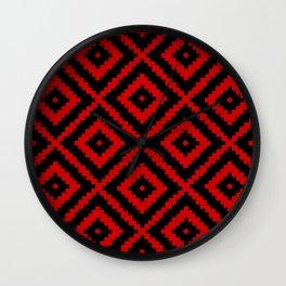 Geometry Square Pattern Red Black Wall Clock