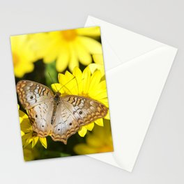 Beautiful White Peacock Butterfly on Daisies Stationery Cards