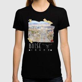Boise, Idaho, City Skyline Train Depot Design T-shirt