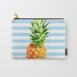 Pineapple, blue stripes, kitchen poster, garden poster, rounded Carry-All Pouch