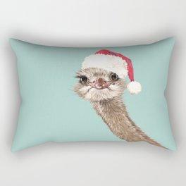 Christmas Ostrich in Green Rectangular Pillow