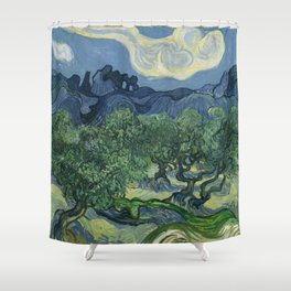 Vincent van Gogh - Olive Trees in a Mountainous Landscape Shower Curtain