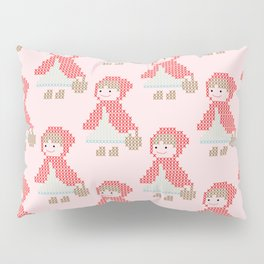 Red Riding Hood Cross Stitch Pattern on pink Pillow Sham