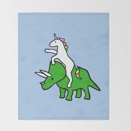 Unicorn Riding Triceratops Throw Blanket