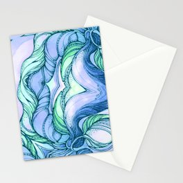 Light blue flowers mandala Stationery Cards