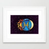 astrology Framed Art Prints featuring Astrology, fish by Karl-Heinz Lüpke