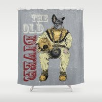 diver Shower Curtains featuring Old Diver by Stefan Grolin