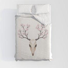 Blooming deer skull Duvet Cover