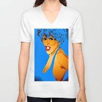 tina V-neck T-shirts featuring Tina by Saundra Myles